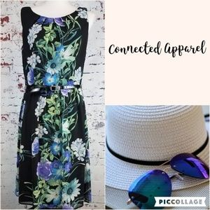 CONNECTED APPAREL Black Floral Dress - Women's 12
